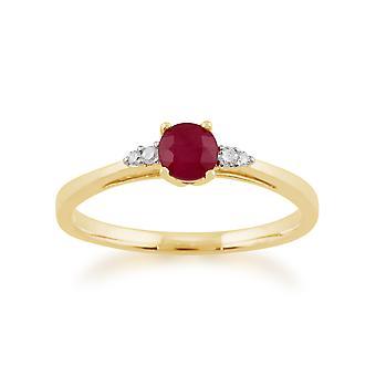 Gemondo 9ct Yellow Gold 0.34ct Ruby & Diamond Ring