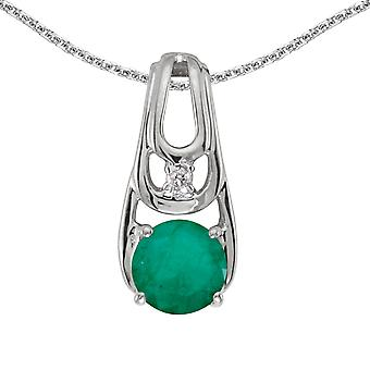 14k White Gold Round Emerald And Diamond Pendant with 18