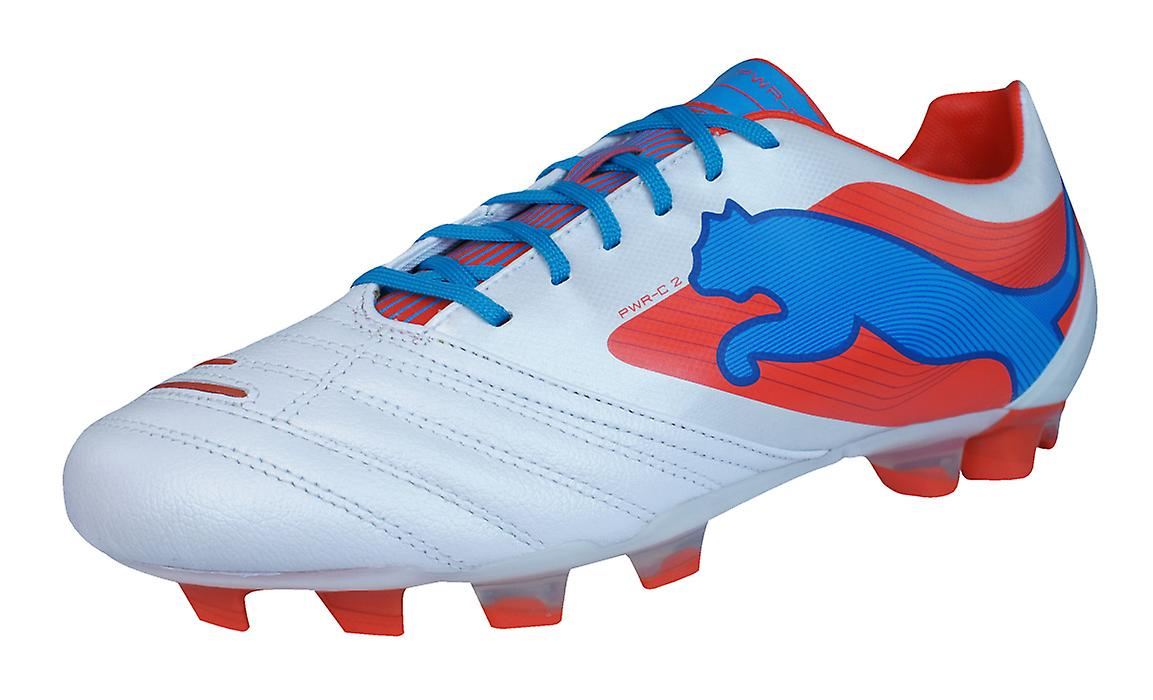 Puma PowerCat 2 FG Mens Leather Football Boots / Cleats - White
