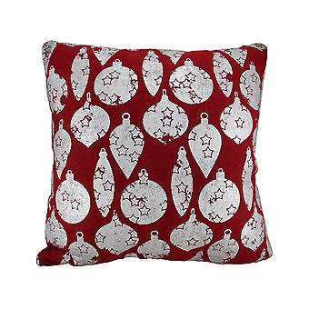 Red / Silver Christmas Ornaments Throw Pillow 18 Inch