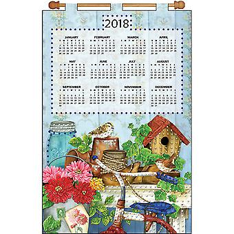 Design Works 2018 Calendar Felt Applique Kit-Bicycle Floral DW4251