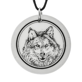 Handmade Gray Wolf 2 Totem Round Shaped Porcelain Pendant