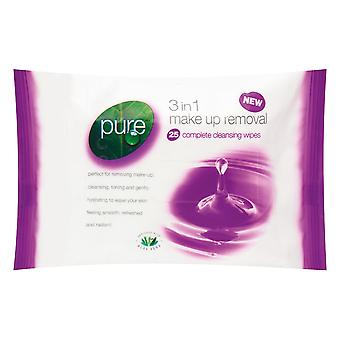Pure 3 In 1 Make-Up Removal Cleansing Facial Wipes
