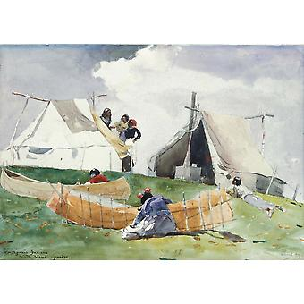 Winslow Homer - Montagnais Camp Pointe Bleue Quebec Poster Print Giclee