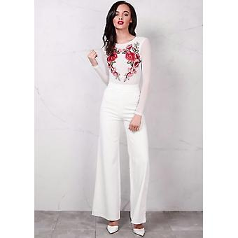 Hohe Taille Creme weites Bein Palazzo Hose White