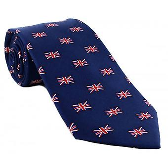 Michelsons of London Small Union Jack All Over Pattern Silk Tie - Navy/Red/White