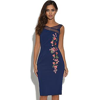 Little Mistress Navy Floral geborduurd Bardot Dress