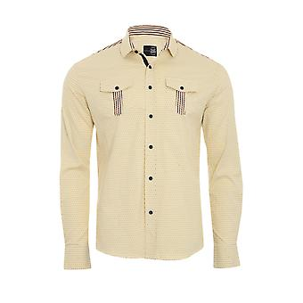 Tazzio fashion shirt men's long sleeve-shirt yellow G-703