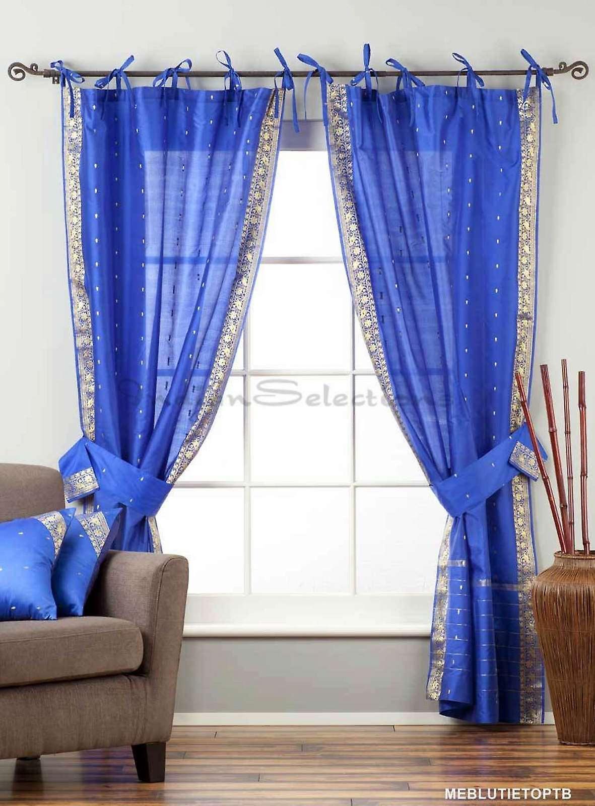 WMatching Top Sari Blue In 43x84 Tieback Tie Indo Curtain Sheer Drape Panel HDW92IYE