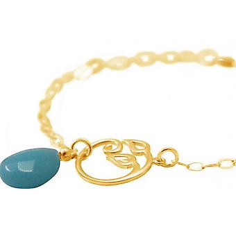 Women - bracelet - 925 Silver - gold plated - grape leaves - turquoise - drop - blue - YOGA