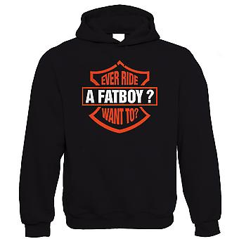 Vectorbomb, Ever Ride A Fatboy?  Funny Mens Biker Hoodie (S to 5XL)
