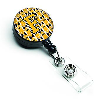 Letter F Football Black, Old Gold and White Retractable Badge Reel