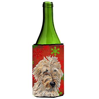 Golden Doodle 2 Red Snowflakes Holiday Wine Bottle Beverage Insulator Hugger