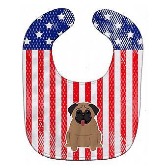 Carolines skarby BB3000BIB patriotyczne USA Mops brązowy Baby Bib