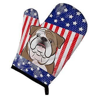 Carolines skarby BB2149OVMT amerykańską flagę i Buldog angielski piekarnik Mitt