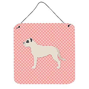 Dogo Argentino Checkerboard Pink Wall or Door Hanging Prints