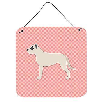 Dogo Argentino schackrutiga rosa vägg eller dörr hängande utskrifter
