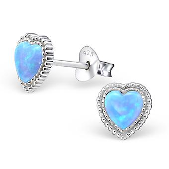 Heart - 925 Sterling Silver Opal And Semi Precious Ear Studs - W23627x