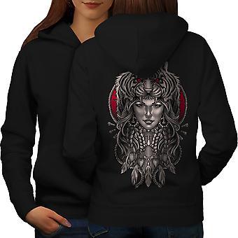 Girl Tiger Head Fantasy Women BlackHoodie Back | Wellcoda