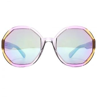 Marc Jacobs Hexagon Round Sunglasses In Crystal Grey Pink Brown