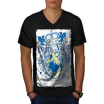 Death Valley König Schädel Männer BlackV-Neck T-shirt   Wellcoda