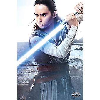 Star Wars de sista Jedi - Rey affisch Skriv