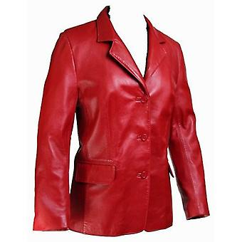 Ladies Josephina Lipstick Red Leather Coat