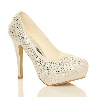 Ajvani kvinners Bryllupsutstyr wedding prom partiet høy hæl plattform pumper retten sko
