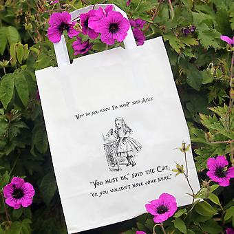 Alice in Wonderland Party Bags White with Handles x 10 Wedding / Mad Hatters