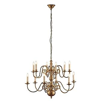 Interiors 1900 Chamberlain 12 Light Chandelier, Solid Brass
