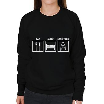 Eat Sleep Star Trek Graphic Women's Sweatshirt