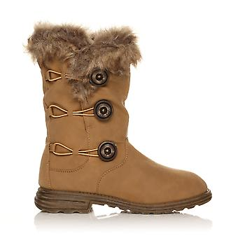 H047 Camel PU Leather Block Low Heel 3 Button Snow, Winter Boots