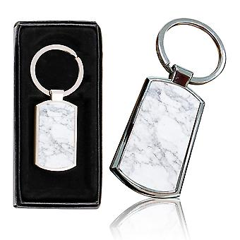 i-Tronixs - Premium Marble Design Chrome Metal Keyring with Free Gift Box (2-Pack) - 0050