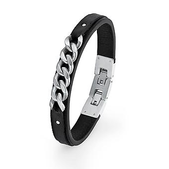 s.Oliver jewel mens leather bracelet stainless steel 2018694