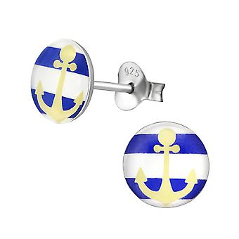 Anchor - 925 Sterling Silver Colourful Ear Studs