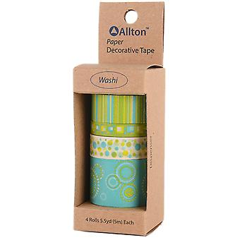 Decorative Washi Tape Assorted Widths 5M 4/Pkg-Yellow-Green Pop
