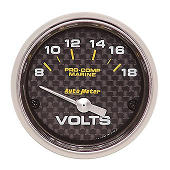 AutoMeter 200756-40 Marine Electric Voltmeter Gauge 2-1/16 in. Carbon Fiber Dial Face Silver Pointer White Incandescent