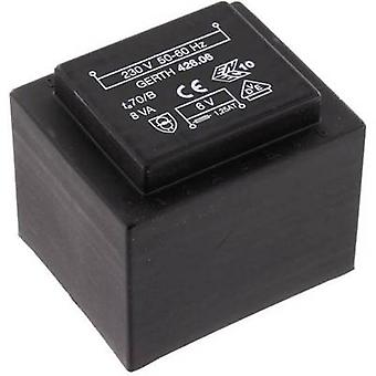 PCB mount transformer 1 x 230 V 1 x 12 V AC 8 VA 666 mA PTF421201 Gerth