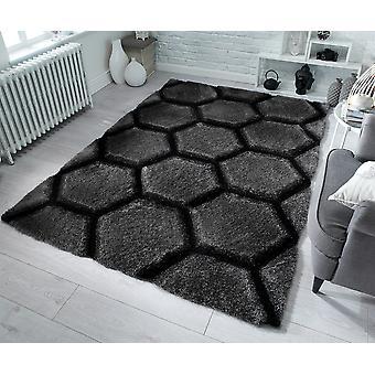 Verge Honeycomb Charcoal  Rectangle Rugs Plain/Nearly Plain Rugs
