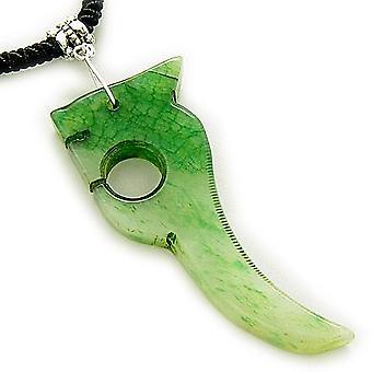 Lykke Talisman Lucky Dragon lyse grønne Jade halskjede