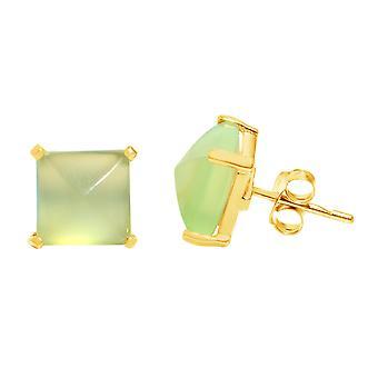 Gemshine Damen Ohrringe 925 Silber Vergoldet Chalcedon Meeresgrün  10mm