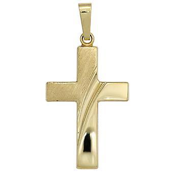 Cruz colgante cruz collar colgante cruz oro amarillo oro 585 parcialmente helado