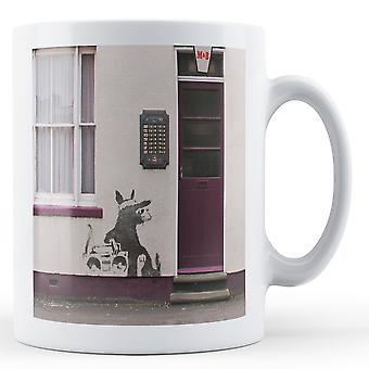 Printed mug featuring Banksy's, 'Rat with Beatbox 3' artwork