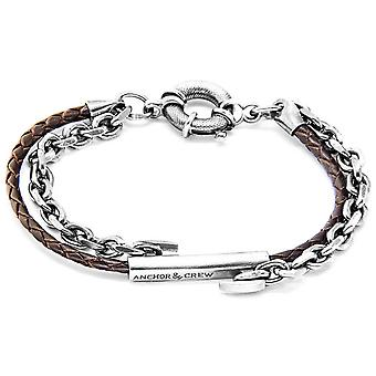 Anchor and Crew Belfast Silver and Leather Bracelet - Dark Brown