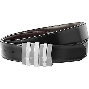Montblanc Leather Belt 103427 Black/Brown Calfskin Leather Solid Brass 120cm