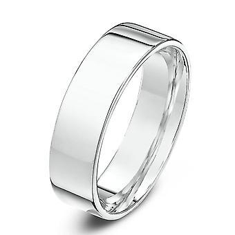 Star Wedding Rings 9ct White Gold Heavy Flat Court Shape 5mm Wedding Ring