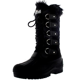Womens Faux Fur Tactical Mountain Waterproof Knee High Walking Boots UK 3-10