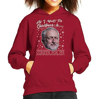 All I Want For Christmas Is Corbyn For PM Kid's Hooded Sweatshirt
