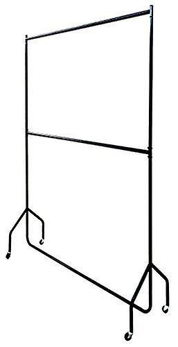 4ft long x 7ft Two Tier Heavy Duty Clothes Rail Garment Hanging Rack In Black