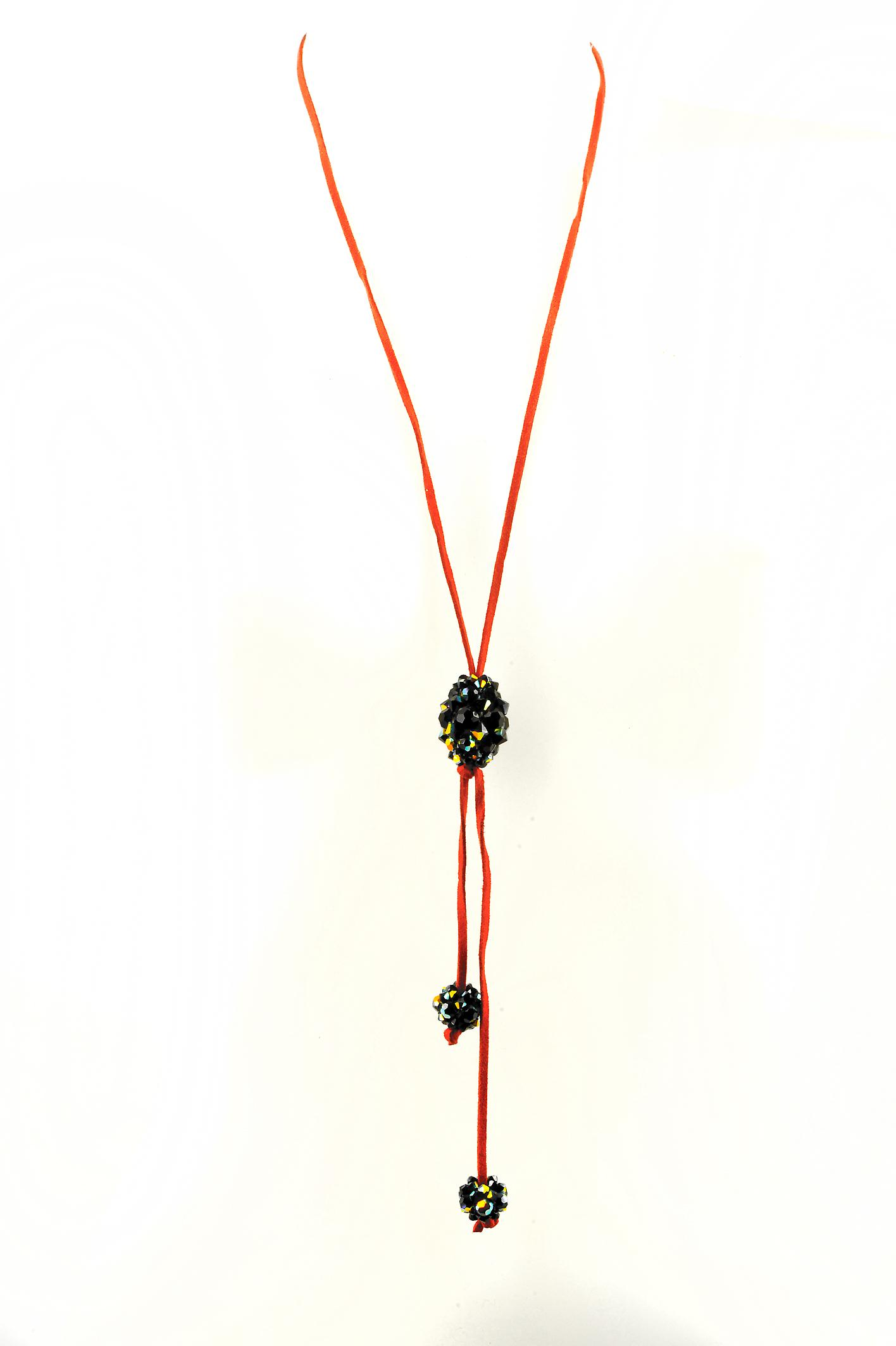 Waooh - jewelry - WJ0318 - necklace with Rhinestone Swarovski reflection Black Long